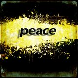Word `peace` on black and yellow grunge background. Communication concept. Royalty Free Stock Photo