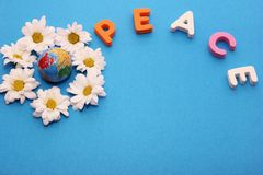 Word PEACE made by letters near little figure of a globe surrounded by flowers of white chrysanthemums. Copy space stock photography