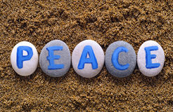 Word Peace spell out from stones Royalty Free Stock Image
