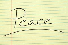 Peace On A Yellow Legal Pad Royalty Free Stock Images