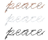 Word peace written in barbed wire Royalty Free Stock Photos