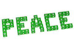 Word Peace written with blocks with letters W,A,R Royalty Free Stock Images