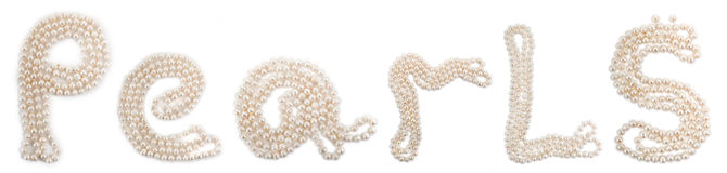 Word Pearls set of perls. On a white background Royalty Free Stock Image
