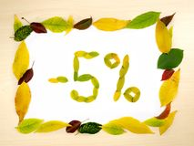 Word 5 percent made of autumn leaves inside of frame of autumn leaves on wood background. Five percent sale. Autumn sale template. Word 5 percent made of autumn royalty free stock image