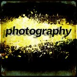 Word `photography` on black and yellow grunge background. Communication concept. Royalty Free Stock Images