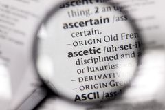The word or phrase ascetic in a dictionary. Book stock images