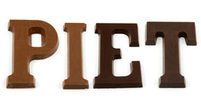 The word Piet in chocolate letter Stock Images