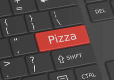 The word Pizza written on the keyboard. The word Pizza written on a red key from the keyboard Stock Photos