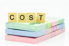 COST on the banknotes royalty free stock photography