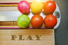 The word play background bowling balls Royalty Free Stock Image