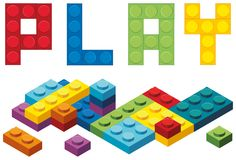 Word play and colorful blocks. Illustration royalty free illustration