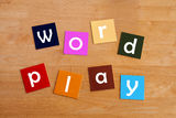 Word play - For Education. Word play in lower case for school kids stock photos