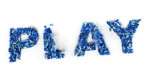 The word play formed by blue toy bricks stock illustration