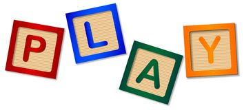 Isolated Wooden Childs Play Blocks. The word play made up from wooden blocks over a white background vector illustration