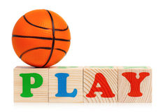 Word PLAY and small ball Stock Image