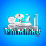Word plumbing and objects on blue background vector illustration