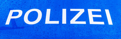 Word police on a German police car Royalty Free Stock Images