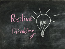 The word positive thinking and light bulb. Drawn on a chalk board,business concept Stock Photography