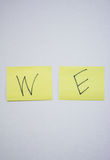 We of word on post it Royalty Free Stock Photos