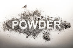 Word powder written in grey scattered pile of ash, dust, filth, Stock Photo