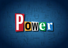 The word Power made from cutout letters. On a blue background Royalty Free Stock Images