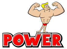 Word power with a strong man Royalty Free Stock Photos