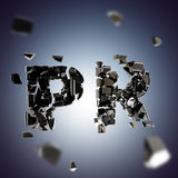 Word PR broken into pieces background Royalty Free Stock Photos