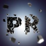 Word PR broken into pieces background Royalty Free Stock Photos