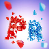 Word PR broken into pieces background Stock Images