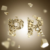 Word PR broken into pieces background Royalty Free Stock Image