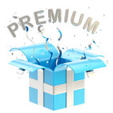 Word premium inside a gift box Stock Photography