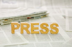 The word press. Made of paper mache letters Royalty Free Stock Images