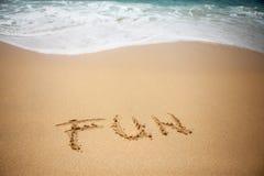 Word PRET in zand van strand Royalty-vrije Stock Foto's