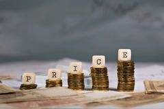 Word PRICE composed of wooden letter. Closeup royalty free stock photo
