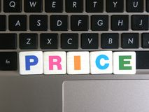 Word Price on keyboard background.  royalty free stock photo