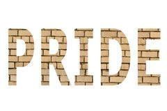 The word pride. On a white background royalty free stock images