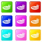 Word princess crown icons set 9 color collection stock illustration