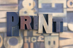 The word print. Formed from letterpress printing blocks Stock Images