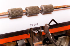 Word print on typewriter paper Royalty Free Stock Images