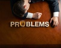 Word Problems and devastated man composition Stock Photography