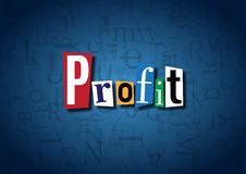 The word Profit made from cutout letters. On a blue background Royalty Free Stock Image