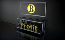 The word profits and sign bitcoins Stock Photo