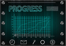 Word `progress` on a dark background Royalty Free Stock Photography