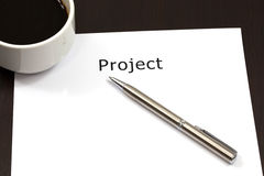 The word project. Close up in paper Royalty Free Stock Photos