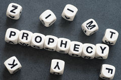 Word prophecy on toy cubes. Word prophecy on white toy cubes Stock Images