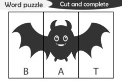 Word puzzle, bat in cartoon style, halloween education game for development of preschool children, use scissors, cut parts of the royalty free illustration