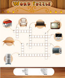 Word puzzle game with objects in the house Royalty Free Stock Photography