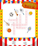 Word puzzle game with sport equipments stock illustration