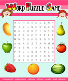 Word puzzle game template with fruit theme Royalty Free Stock Photo