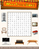 Word puzzle game with things in the house Stock Images